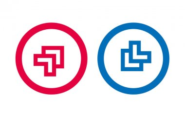Arrow Line Red And Blue Design Icon icon