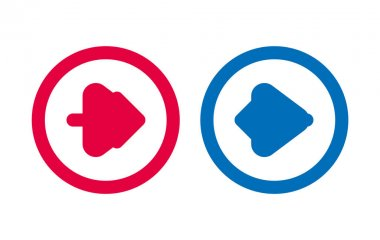 Arrow Icon BLue And Red Line Design icon