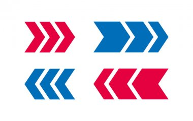 Arrow Icon BLue And Red Design icon