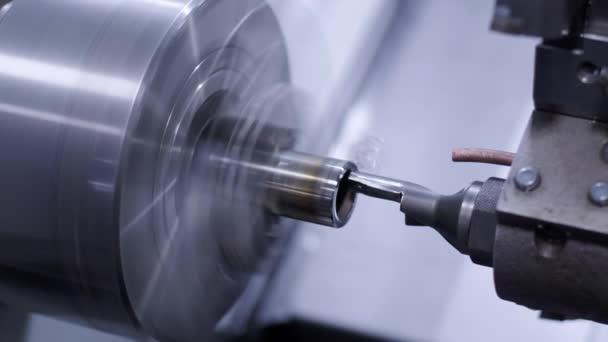 Metal lathe close-up. Lathe, metal processing,
