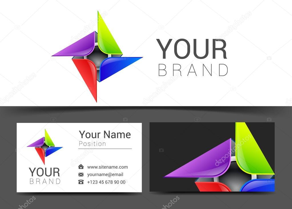 Carte De Visite Multicolor Decorative Abstraite Pour Le Logo Votre Entreprise Illustration Stock