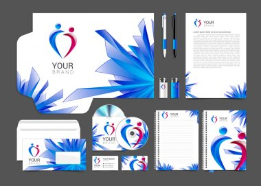 item set of corporate identity for your business with people logo and bright colorful background on the topic of social networks and modern technology