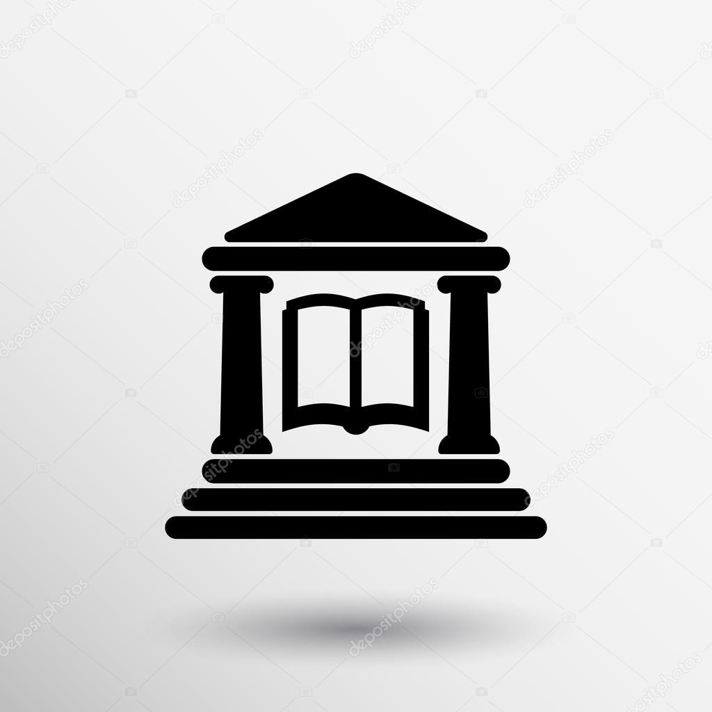 2b929e1c2828c Enciclopedia de Educación de la escuela de biblioteca icono libro edificio  — Vector de stock