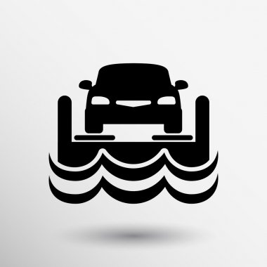 auto icon water transport ferry crossing car