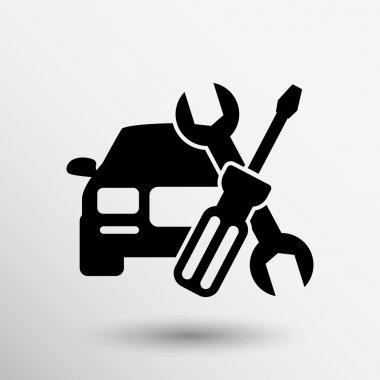 Automotive repair icon car service hood mechanic tools