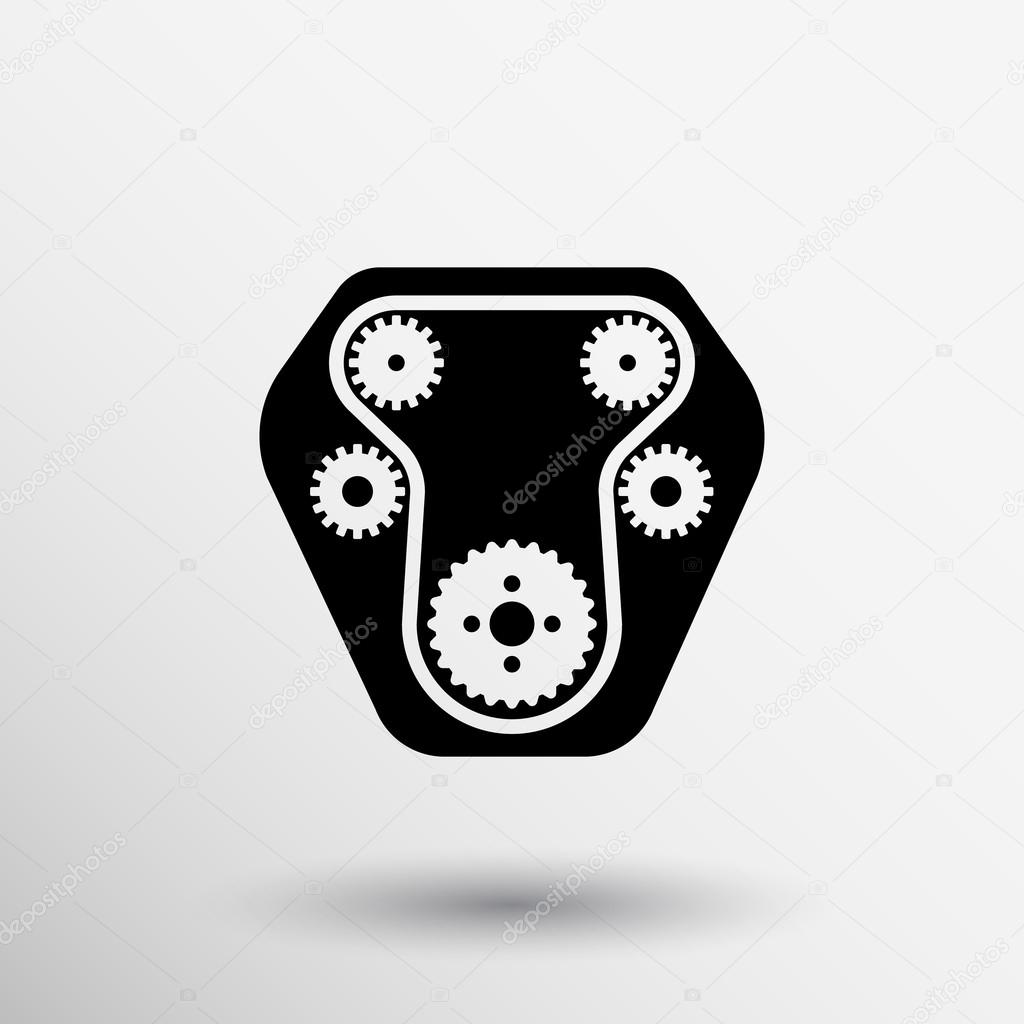 car engine symbol, stylized vector silhouette of automobile motor ...