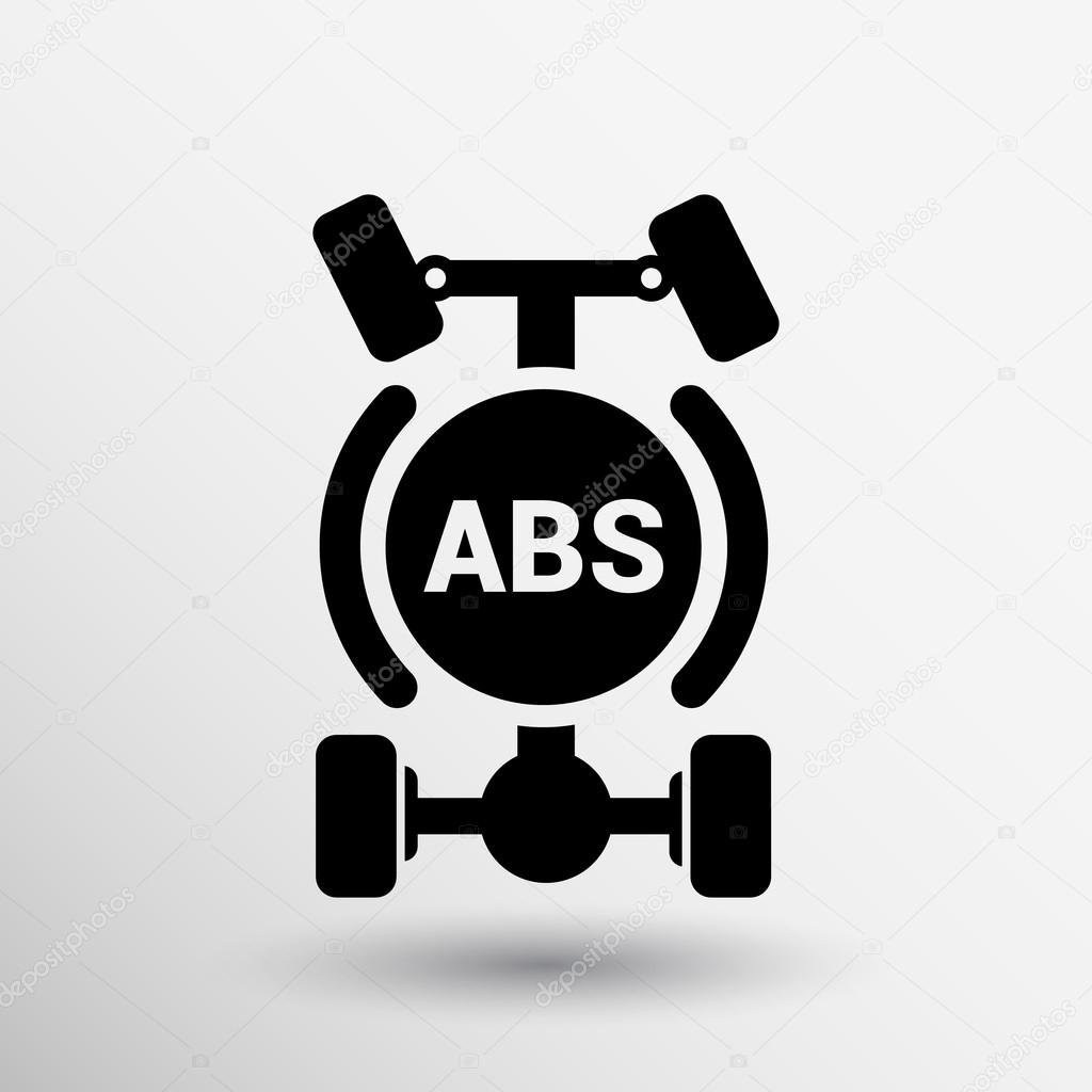 Abs Single System Symbol Car Braking Isolated Manual Electric Icon