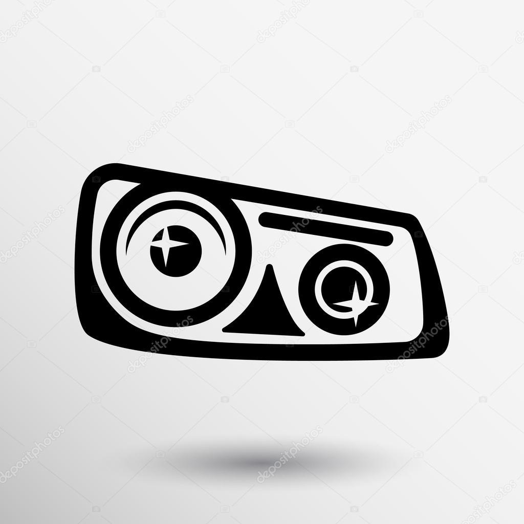Vector Graphic Car Headlight Icons Xenon Symbol Stock Vector