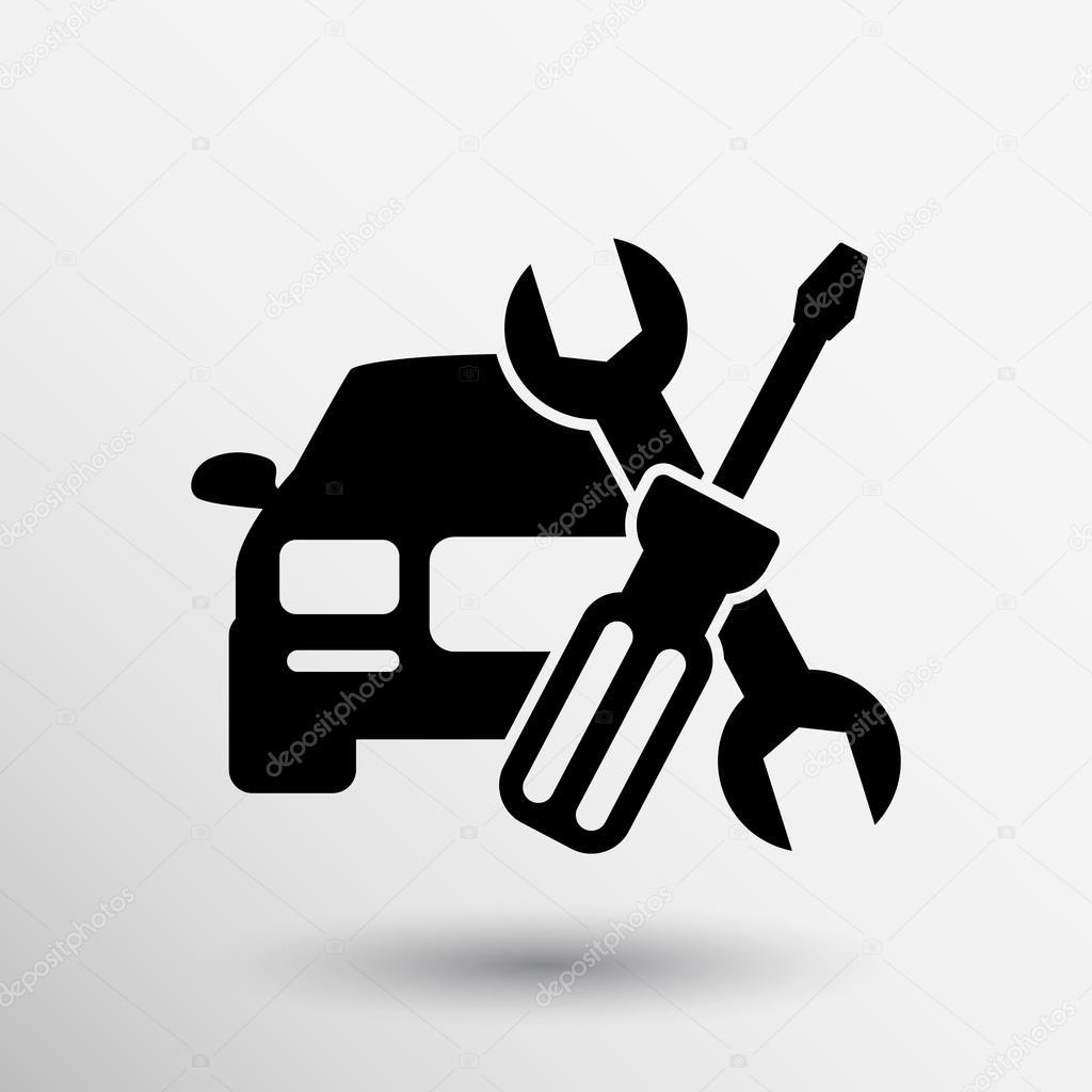 Outils m canicien ic ne capot voiture r paration for Logo garage mecanique