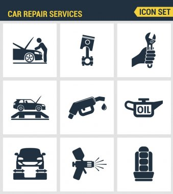Icons set premium quality of car repair services instrumentation support technology tool service. Modern pictogram collection flat design style symbol collection. Isolated white background.