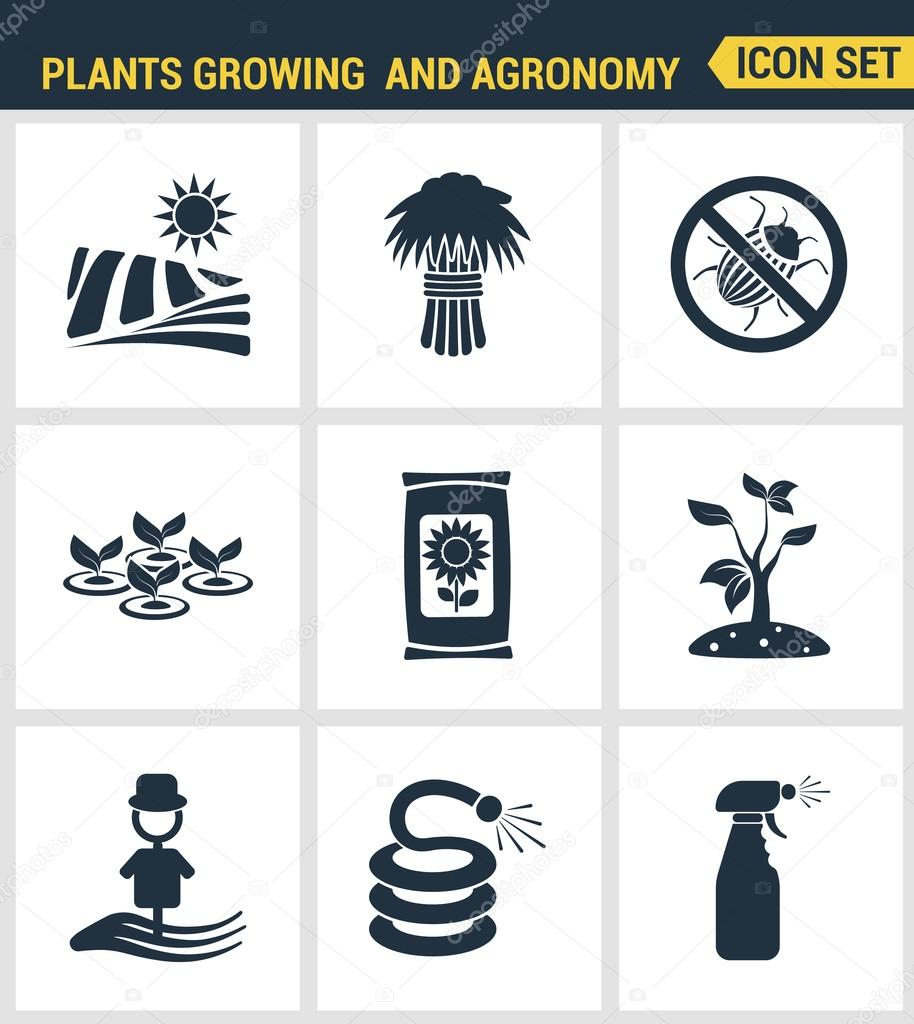 Icons set premium quality of plants growing and agronomy farming farmer bio stem. Modern pictogram collection flat design style symbol collection. Isolated white background.