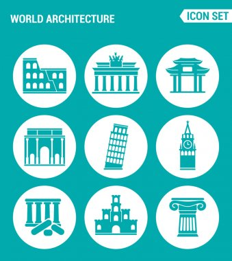 Vector set web icons. World architecture Colosseum, gate, China, Berlin, Leaning Tower, Big Ben, Greek ruins, Castle, Columns. Design of signs, symbols on a turquoise background