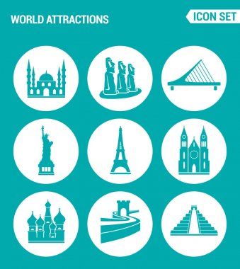 Vector set web icons. World attractions Mosque, rapa nui, Bridge, Statue Liberty, Eiffel Tower, Church, Chinese Wall, Pyramid. Design of signs, symbols on a turquoise background