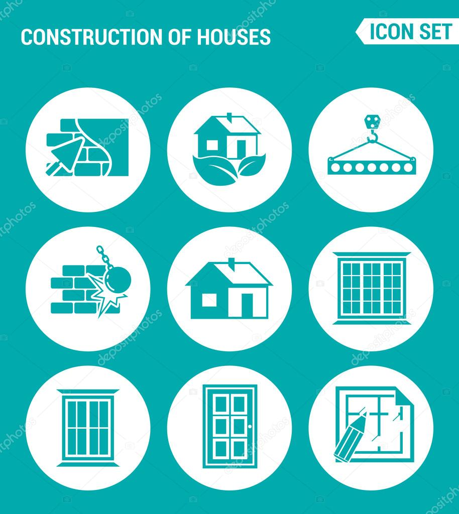 vector set web icons construction of houses plaster walls eco