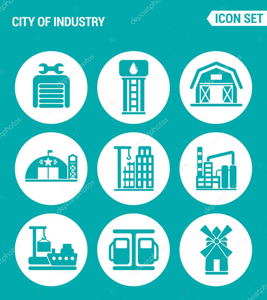 Vector set web icons  City of industry garage, pumping