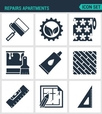 Set of modern vector icons. Repairs apartments roller gear, wallpaper, paint, glue, board level layout, square. Black signs on a white background. Design isolated symbols and silhouettes