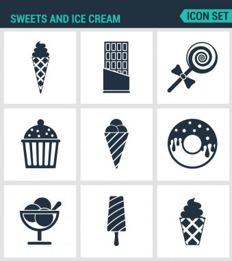 Set of modern vector icons. Sweets and ice cream ice creams, chocolate, candy, cake, Donuts, dessert, popsicle. Black signs on a white background. Design isolated symbols and silhouettes