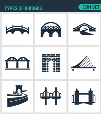 Set of modern vector icons. Types of bridges architecture, construction. Black signs on a white background. Design isolated symbols and silhouettes