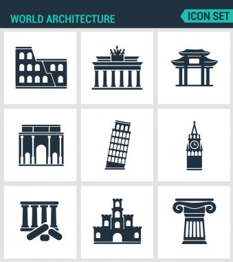 Set of modern vector icons. World architecture Coliseum, gate, china, berlin, Leaning Tower, Big Ben, Greek ruins, Castle, Columns. Black signs white background. Design isolated symbols silhouettes