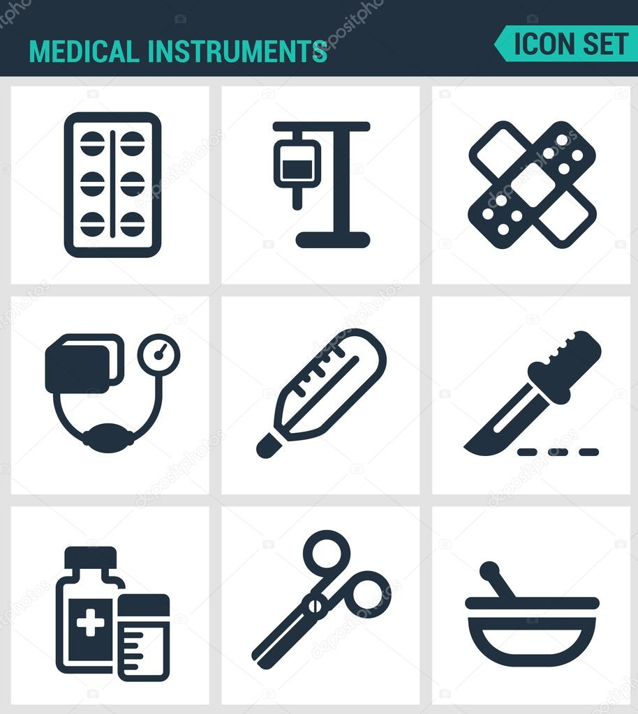 Set modern vector icons medical instruments pills blood medical instruments pills blood transfusion dropper patch tonometer thermometer scalpel medicine scissors drug black signs white background biocorpaavc Gallery