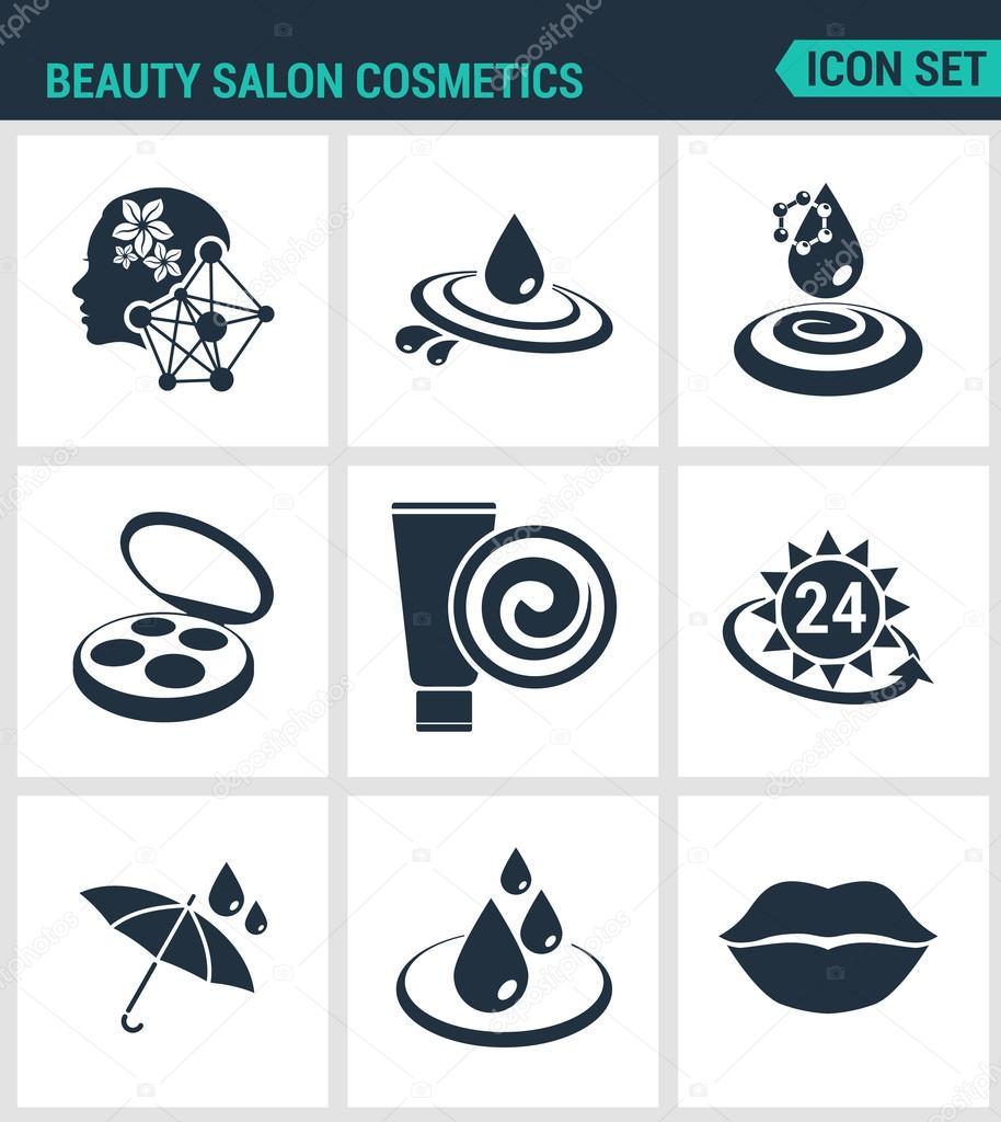 Set Of Modern Vector Icons Beauty Salon Cosmetics Care Cream