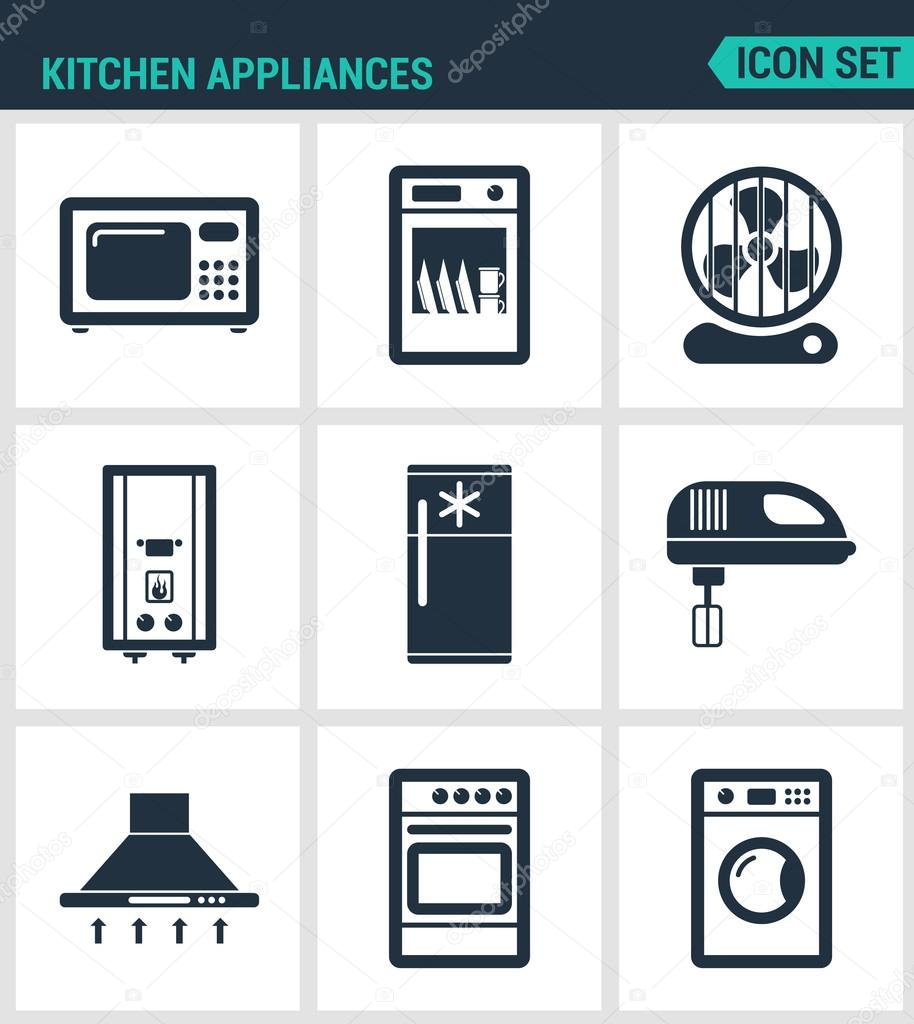 Set modern vector icons. Kitchen appliances microwave