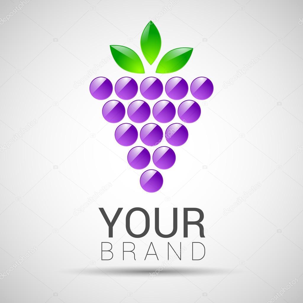 Vektor-Logo-Design-Vorlage. Zweig der Trauben mit Blätter ...