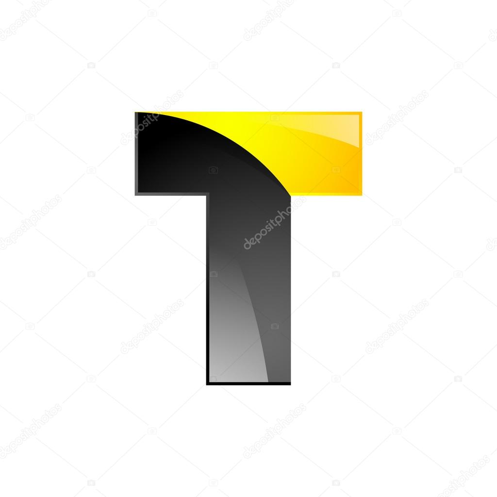 Creative Yellow And Black Symbol Letter T For Your Application Or Company Design Alphabet Graphics 3d Vector By Moleks