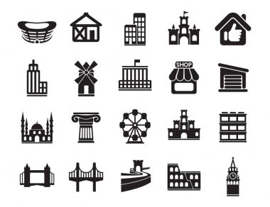 Signs logo illustration. Urban infrastructure vector icons set, modern solid symbol collection filled pictogram pack. Set includes icons playground buildings service. icon