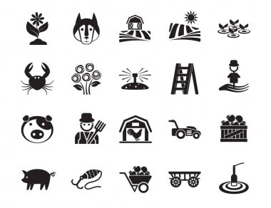 Agriculture linear icons set. Farming. Agricultural symbols. Isolated vector outline illustrations. icon