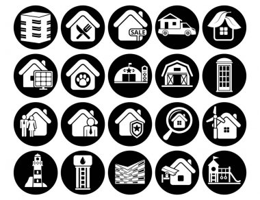 Office buildings vector icons set, architectural building modern solid symbol collection, Set includes icons as skyscraper, filled style pictogram pack. Signs, logo illustration. icon