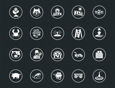 Set of outline signs and symbols farm. Collection vector icons and infographics elements. Simple linear pictogram pack for web graphics and apps. icon