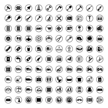 100 vector black industry icons set vector construction industrial sign