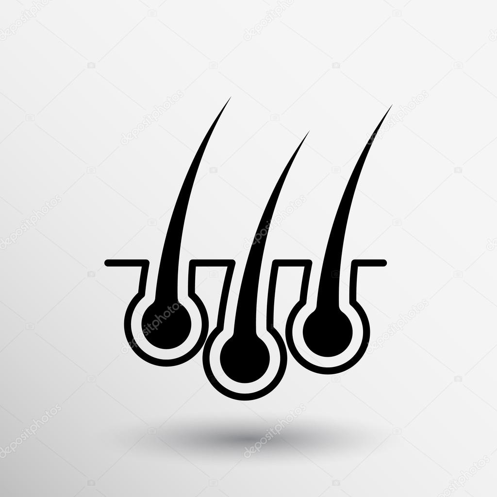 hair icon isolated human removal grow medical bulb