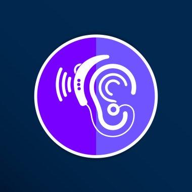Ear vector icon hearing aid ear listen sound graphics