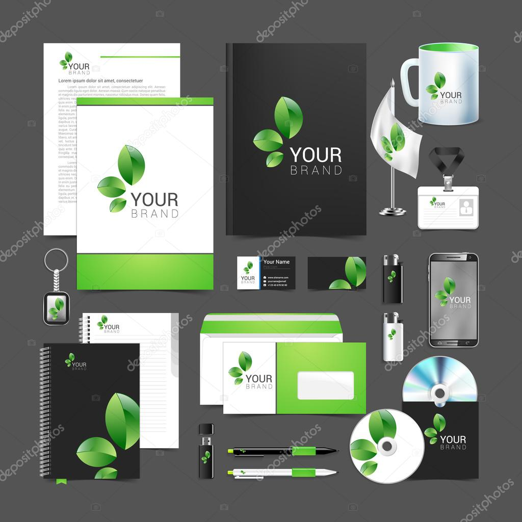 Floral stationery template design green leaves business.