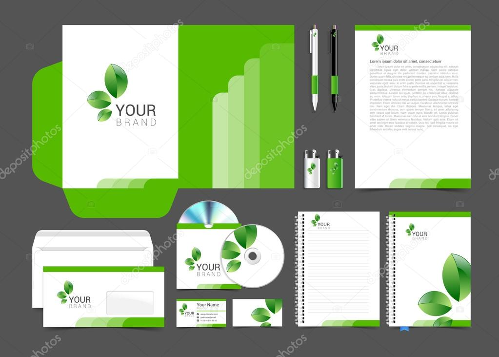 Diseño de plantillas de papelería floral verde deja negocio ...