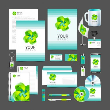 White corporate identity template design green  turquoise
