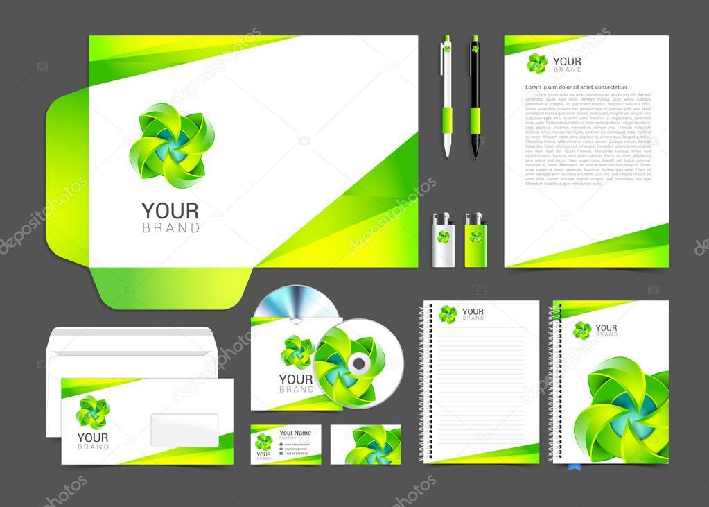 Turquesa de blanco identidad corporativa plantilla diseño verde ...