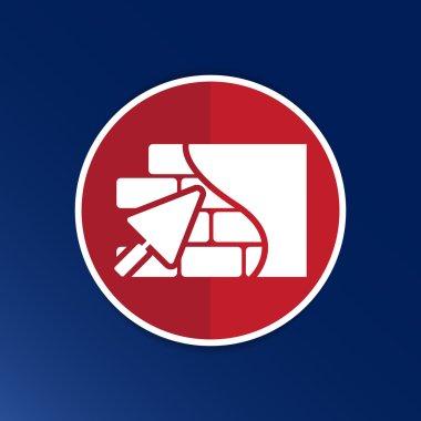 Brick wall trowel icon button logo symbol concept
