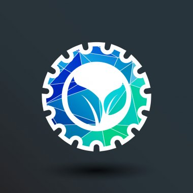 leaves gear icon vector button logo symbol concept