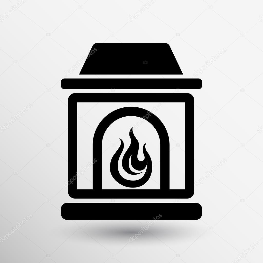 Concetto di camino icona vettore pulsante logo simbolo for Concetto aperto di piani coloniali