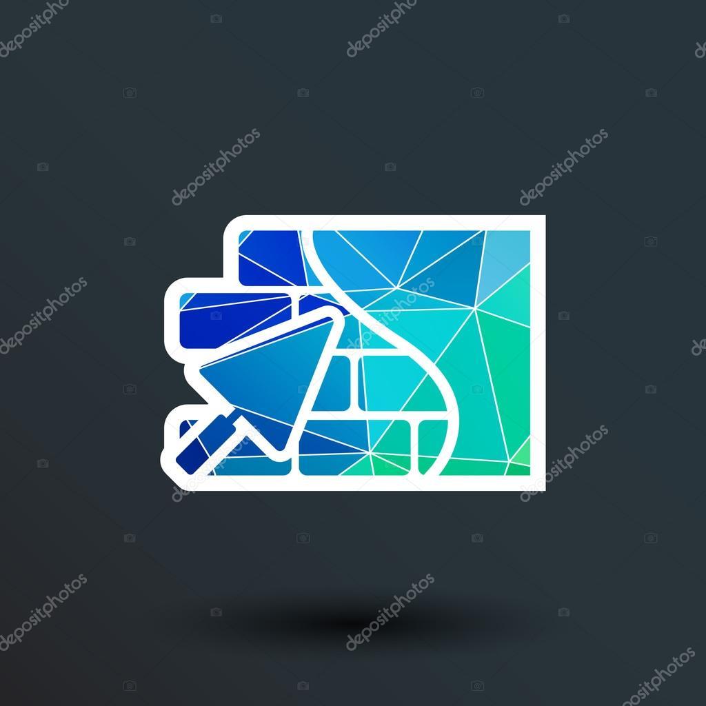 Masonry Trowel Logo : Brick wall trowel icon button logo symbol concept — stock