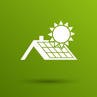 solar panels roof icon vector button logo symbol concept