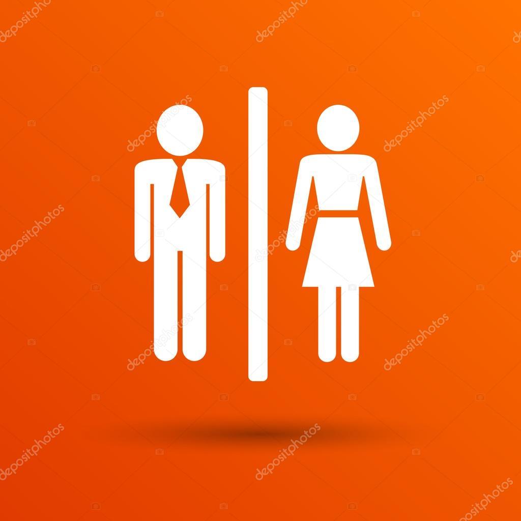 Homme Femme Toilettes Signe Icône Vector Bouton Logo Symbole Concept
