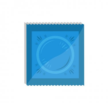 Vector condom in the package. Contraception concept. Medical isolated flat icon. icon