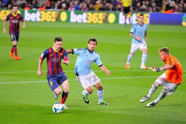 F.C Barcelona player, about to score a goal