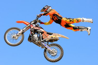 A professional rider at the FMX сompetition