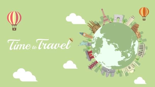 Utazás, nyaralás, városnézés animációs banner (4K). Világörökség és világhírű épületek.
