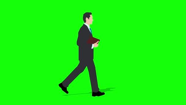 Gehender Geschäftsmann Zeichentrickfilm. Schleifenanimation (4K-Video). grüner Hintergrund für transparenten Hintergrund.